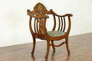 Victorian Antique Roman Style Oak Upholstered Hall Chair Carved Face 38598