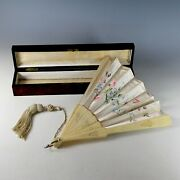 Antique French Hand Painted Silk Fan Eventail W Carved Spines Original Box