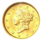 1852 Liberty Gold Dollar G1 - Certified Ngc Ms61 Bu Unc - Rare Early Coin