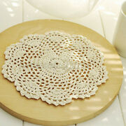12 Hand Made Crocheted Heart Shaped Beige Doilies 100 Cotton 8 Round New