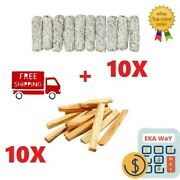 20 Pack { 10 Palo Santo Holy Wood Incense + 10 White Sage Smudge 4 } Great Deal
