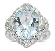 7.30 Ct Real Eye Clean Aquamarine Anniversary Halo Ring Certified 14k White Gold