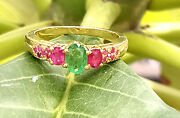Luxury Pink Ruby And Emerald Headmade 925 Silver Fashion Women Ring Jewelry R-1716