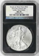 2012-w 1 American Silver Eagle Ngc Retro Ms70 Early Releases 25th Anniversary