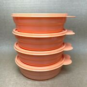 Tupperware Microwave Cereal Bowls Set Of 4 2 Cup 2415 Coral/orange New
