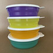 Tupperware Microwave Cereal Bowls Set Of 4 2 Cup 2415 Multicolor New