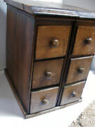 Primitive Shaker Wooden Chest Spice Cabinet 6 Drawer Box Wood Antique Apothecary