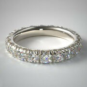 Coupe Ronde 14k Or Blanc 2.50 Ct Vrai Diamant Mariage Eternity Band Taille 6 7 8