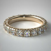 Coupe Ronde 14k Or Jaune 2.50 Ct Vrai Diamant Mariage Eternity Band Taille 6 7 8