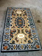 4and039x2and039 Black Marble Dining Table Top Pietra Dura Inlay Decor Antique Mosaic V1