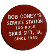 Bob Coney's Service Station 700 Ross Sioux City Ia Trade Tokens 5,10 And 50 Cts.