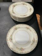 Rose China Occupied Japan Set Of 8 Dinner Plates 10 In