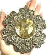 Spectacular Natural Quartz And Sterling Silver Antique Victorian Scottish Pin