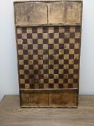 Old Antique Hand Carved/painted Checkers 1800and039s Game Board. Folk Art Primitive.