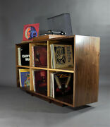 Solid Two Tier Handmade Walnut And Oak Record Case Bookcase In Mid Century Style