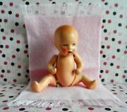 """Early Rare True Hertwig Porcelain Doll Miniature Jointed 2 3/4"""" Marked Germany"""