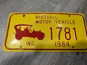 Vintage Indiana In 1986 Historic Motor Vehicle License Plate 3396 Tag Car
