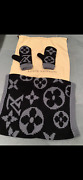 Brand New Authentic Louis Vuitton Monogram Shawl And Mittens Black/grey Wool Wow