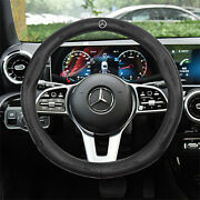 Black 38cm/15inch Pinhole Steering Wheel Cover For Mercedes-benz Genuine Leather
