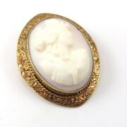 Vintage Solid 14k Yellow Gold Carved Shell Cameo Women's Silhouette Pin Brooch