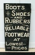 Antique Folk Art Boots Shoes And Rubbers Trade Sign Maine Rustic Tramp Art Camp