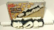 Vtg 1985 - 12x Christmas Cookie Cutter Thermal Rolling Pin Machine Pantry Pride