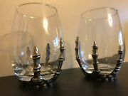 Set 2 Silver Skeleton Hand Wine Glasses Goblets Stemless Goth Haunted Decor Nwt