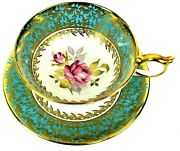 Aynsley Athens Large Teacup And Saucer Turquoise Band Gold Pink Cabbage Roses