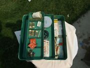 Vintage Old Liberty Metal Tackle Box W/ Old Tackle And Fish Hooks