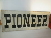 2 Antique Vintage Old Style Pioneer Seed Feed Sign