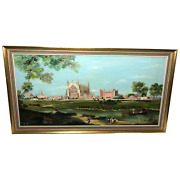 Fine Oil Painting Eton College Chapel By The Thames Landscape After Canaletto