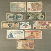 Special Lot Of 10 Circulated Foreign Banknotes Mixed Currency World Paper Money