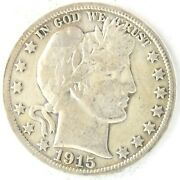 1915 S Barber Half Dollar 50 Cent 90 Silver Us Coin San Francisco United States