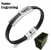 Menand039s Black Leather And Steel Bangle Bracelet Personalized W. Name Engraving 1030