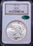 1926 Peace Silver Dollar Ngc Ms64 Cac Original White With Great Luster Pq G408