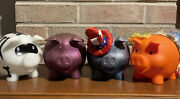 4 Old Navy Collectable Piggy Banks Lot American Flag Hat Hawaii Glitter Skeleton