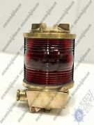 Old Salvaged Tranberg Serie Antique Ship Electric Lamp With Red Glass Ip-56