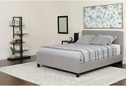 Flash Furniture Tribeca King Size Tufted Platform Bed In Light Gray Fabric New