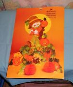Vintage Hallmark Halloween Scarecrow With Crows And Cats Centerpiece With Package