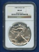 1989 Ngc Ms69 Ase American Silver Eagle 1 Us Mint 1989 Ms-69