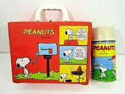 Vintage 1965 Peanuts Gang Vinyl Red Lunchbox With Metal Thermos
