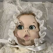 Porcelain Gerber Products Baby Blue Moving Eyes Doll 1981 W Pillow Vin Tage Vtg