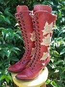 Old Gringo And039grannyand039 Tall Red Womenand039s Boots W/ Floral Embroidery 7.5 Rare