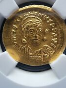Justin I Byzantine Empire Ad 518-527 Av Solidus Ngc Ms Great Gold Coin ☆☆☆☆