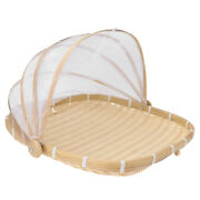 1pc Food Tent Basket Fine Bamboo Novel Decor Serving Tray Container
