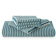 Norwex Towel Set 5pc Bath Towel Hand Towel Body And Face Pack Teal Vanilla Stripe