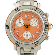 Hermes Clipper Diver Chronograph Cl2.316 Ss Quartz Womenand039s Watch Used