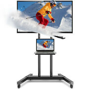 Rolling Tv Cart Mobile Tv Stand For 37-75 Inch Flat Screen Led Lcd Oled Plasma