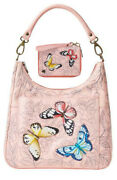 Anuschka Hand Painted Leather Hobo With Coin Pouch Andwallet Butterfly Garden 411