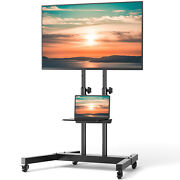 Rolling Tv Cart Mobile Tv Stand For 37-75 Inch Flat Screen Led Lcd Oled